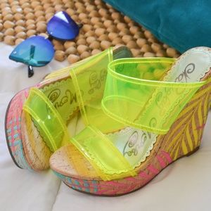 NWOT Neon tropical wedges
